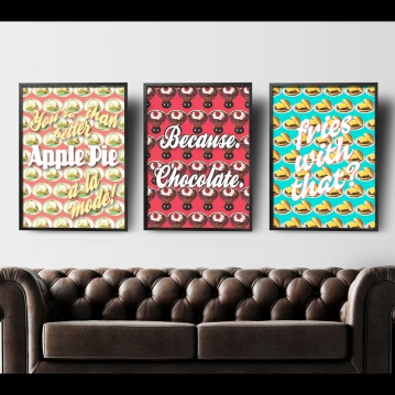 Unkie Monkie Studios Pie, Chocolate, and Fries Posters